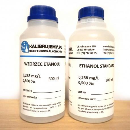 WZORZEC ETANOLOWY DO KALIBRACJI ALKOMATÓW O STĘŻENIU 0,238 MG/L (0,5 ‰) - BUTELKA 500 ML
