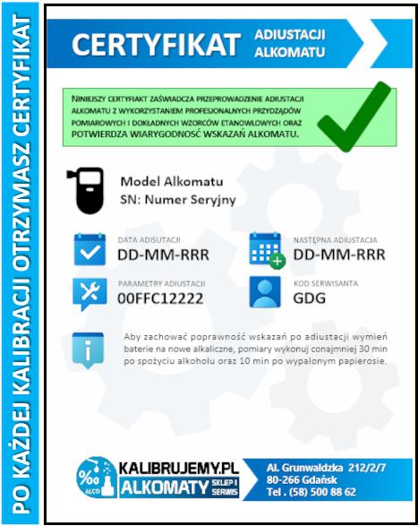 Certyfikat kalibracji alkomatu kalibrujemy.pl